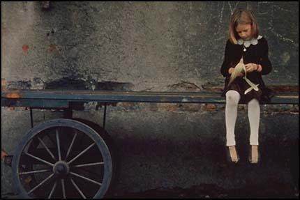 Композиция, баланс - девочка на повозке