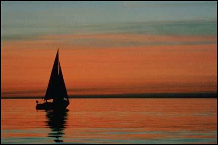 Композиция, правило третей - лодка, горизонт внизу