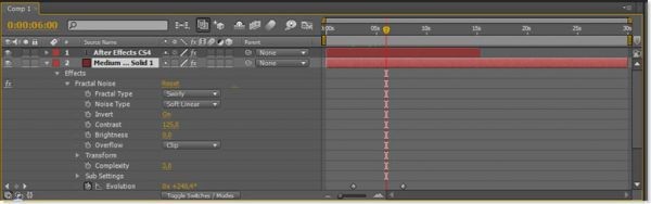 Tаймлайн программы Adobe After Effects CS4